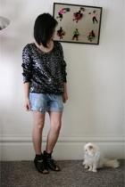 black Dolce Vita shoes - blue calvin klein shorts - black vintage top