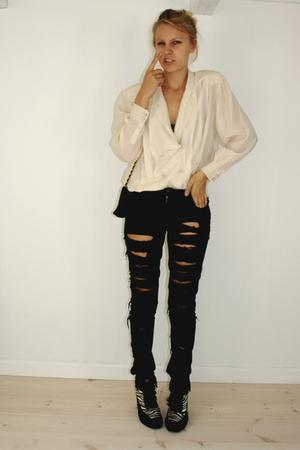 Vintage MaxMara shirt - Cheap Monday with DIY shreds jeans - Chanel purse - Emma