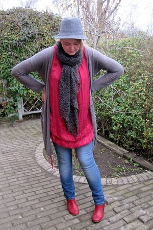 Fly London boots - Jimmy Choo for HM scarf - Kookai cardigan - H&M hat