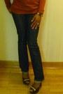 Navy-wetseal-jeans-dark-brown-leather-shiekh-pumps-burnt-orange-amisu-blouse