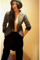 H&M hat - vintage blazer - Zara pants - unknown top - vintage boots