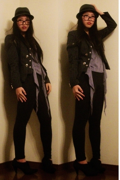 Costume National top - Zara boots - H&M hat - my mothers hand-me-down glasses -