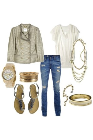 gold gold Michael Kors watch - blue ripped Adriano Goldschmied jeans