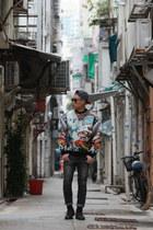 neoprene JuunJ sweater - vintage boots - H&M jeans - Topman hat