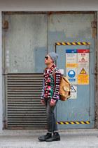 vintage boots - H&M hat - River Island bag - MMM x H&M jumper - H&M pants