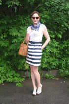 blue Alice  Olivia skirt - white PLAYLIFE top - silver Sisley shoes - brown Zara