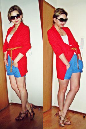 blue Zara shorts - asos cardigan - beige Enzo Angiolini shoes - white Zara t-shi