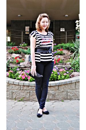 black Zara belt - white Oasis top - black Repetto shoes - black Blank Denim jean