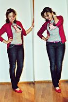 pink Esprit blazer - blue Guess jeans - pink Fratelli Rossetti shoes - silver un