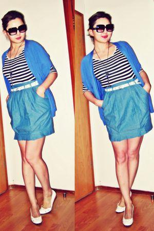 blue Oggi cardigan - blue Zara dress - white Sisley belt - white stuart weitzman
