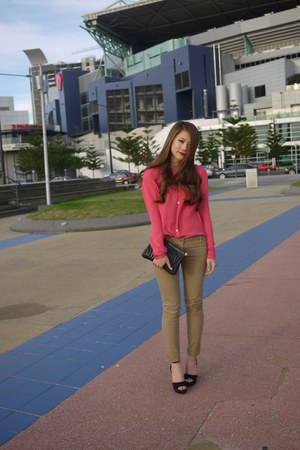 pink sheer acne blouse