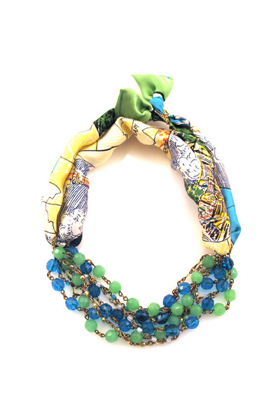 scarf glass Manic Trout necklace