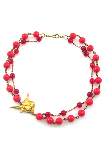 red steer red glass Manic Trout necklace