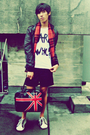 Red-scarf-black-shorts-black-purse-white-shoes-white-shirt-black-jacke