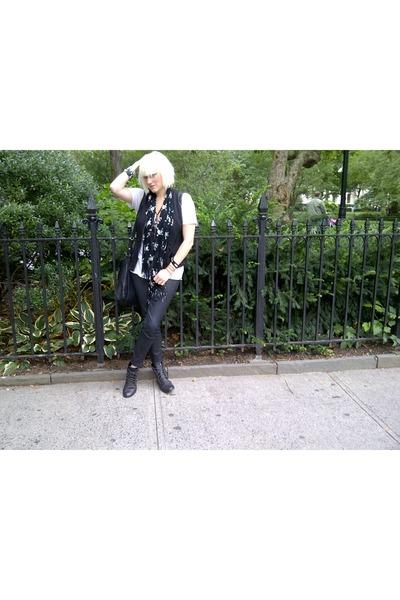 black Bebe vest - studded boots Forever 21 boots - vintage scarf