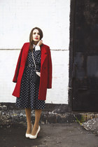 polka dot DIY dress - ruby red Zara coat - Zara bag - unknown heels