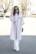 white Incity shirt - light pink DIY coat - black Zara bag