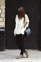 beige blazer - tan leopard print Topshop boots - black bag - black pants