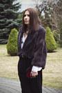 Black-zara-boots-deep-purple-fur-diy-jacket-white-cotton-only-shirt