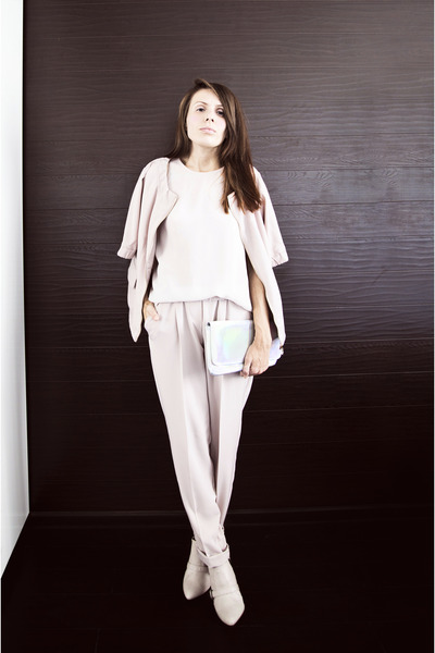 oodji suit - H&M boots - holographic oodji bag - Incity top