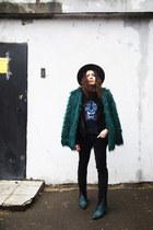 Emerald faux fur coat