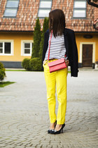 white breton tvoe t-shirt - coral Redmond bag - yellow Zara pants