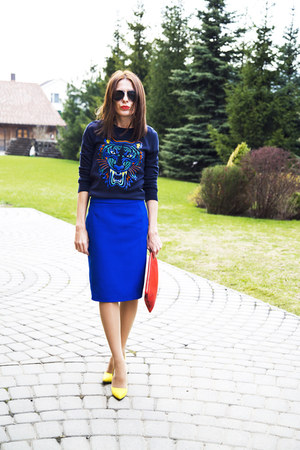 navy Concept club sweater - red Zara bag - blue Incity skirt - yellow heels
