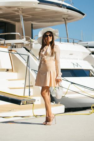 peach Miu Miu shoes - peach Elisabetta Franchi shirt - white vintage bag