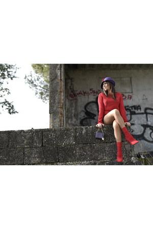 red Steve Madden boots - red Louis Vuitton sweater - purple Dolce & Gabbana bag