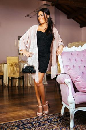 black Bershka dress - light pink Miu Miu shoes - light pink Bershka jacket