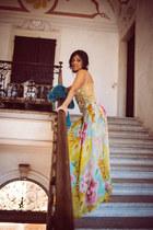 sky blue Anton Giulio Grande dress - silver rene caovilla shoes