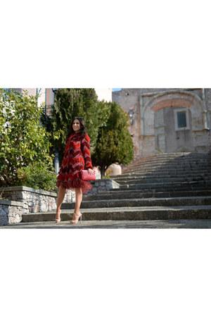 red Ainea coat - neutral Miu Miu shoes - light pink Zara shirt