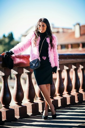 hot pink OASAP coat - black Jimmy Choo shoes - black Pinko bag