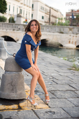 silver Sergio Rossi shoes - blue Flavio Castellani dress
