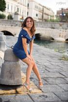 silver Sergio Rossi shoes - blue Flavio Castellani dress
