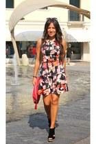 hot pink Pinko dress - black Bibi Lou wedges