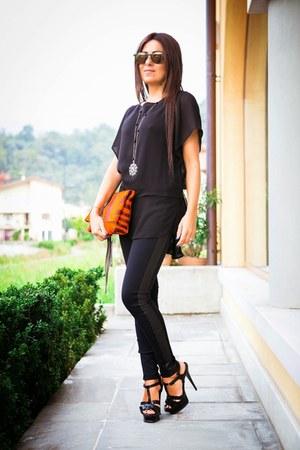 black YSL shoes - black Brian Dales shirt - carrot orange Brian Dales bag