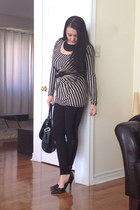 black Zara leggings - black bag - black necklace - black pumps