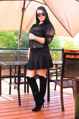 black LABELSHOEScom boots - black H&M bag - black Forever 21 top