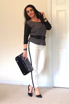 black bag - black pumps - black bracelet - black ring - white Zara pants