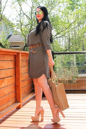 tan LABELSHOEScom shoes - army green H&M dress - gold Ray Ban sunglasses