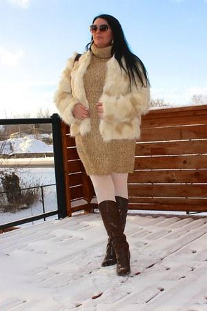 dark brown LABELSHOEScom boots - tan H&M dress - dark brown LABELSHOEScom bag