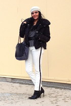 white Zara pants - black boots - black bag - heather gray Zara top