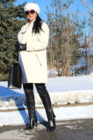 white asos coat - black LABELSHOEScom boots - black Zara bag - black Zara pants