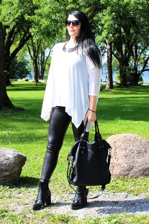 black Zara boots - charcoal gray LABELSHOEScom necklace - white Forever21 top