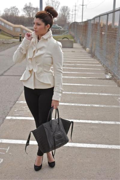 Ivory Wool Ruffles BCBG Coats, Black Forever 21 Leggings, Black ...