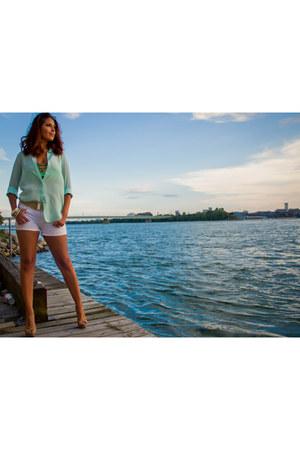 sheer Zara shirt - H&M scarf - white denim guess by marciano shorts