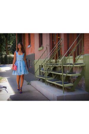 blue suede Zara sandals - light blue linen Rush Couture dress