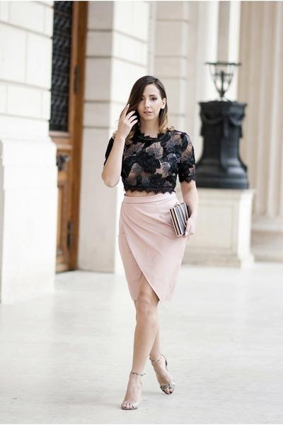 black Shopbop bag - light pink Choies skirt - black Choies top