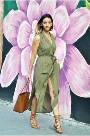 brown Michael Kors bag - olive green She In dress - bronze Choies sandals